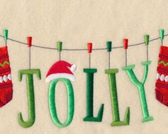 Holly Jolly Clothesline Embroidered Towel | Flour Sack Towel | | Dish Towel | Kitchen Towel | Hand Towel | Christmas Towel