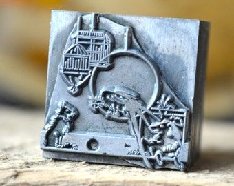 Ships Free - Pet Shop Metal Letterpress Printers Block / Vintage Printing Supply / Dog Letterpress / Cat Letterpress / Parrot Letterpress