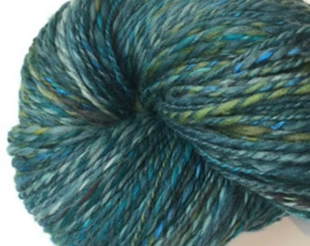 Hand Spun Yarn Blues and Greens 403yds