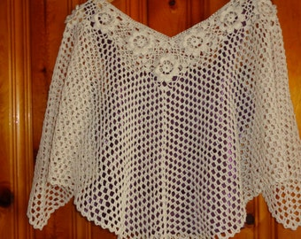 Lace Bridal Poncho / Sexy Crochet Shrug / Bridesmaid Bolero / Cotton Crochet Poncho/ Crochet Wrap / Vintage Inspired Wedding / Handmade Cape