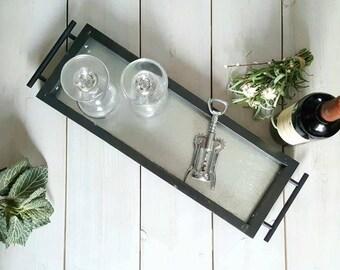 Galvanized Metal Tray, Ottoman Tray, Decorative Trays, Modern Tray, Wine Tray, Industrial Serving Tray, Vanity Tray