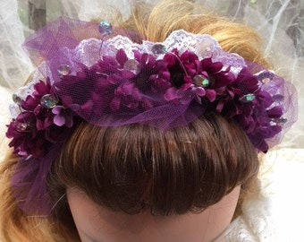 Purple Passion Headband With Lace