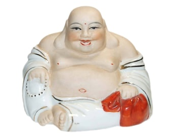 Vintage Mid Century Porcelain Laughing Buddha with Gold Accents Statue Figurine