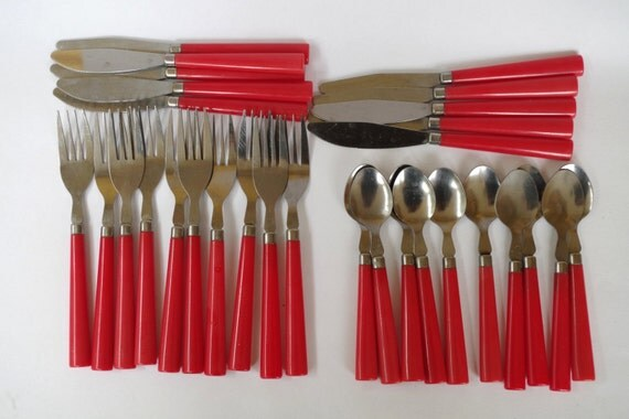 Vintage Set Of Flatware With Red Plastic Handles Service For