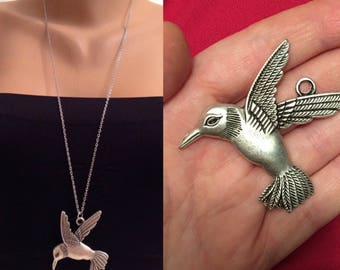 Antique Silver Bird Necklace ,Long Chain Necklace, Silver Bird Pendant,Bird Necklace,Perfect Gift, gift for mom,friends,Christmas Gifts
