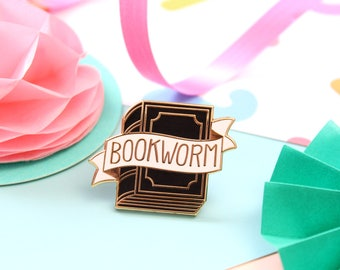 Bookworm Enamel Pin. Book Lover Pin. Bookish Pin. Literary Pin. Black and Gold Pin. Book Pin. Literary Gifts. Book. Pin Game. Book Lover Pin