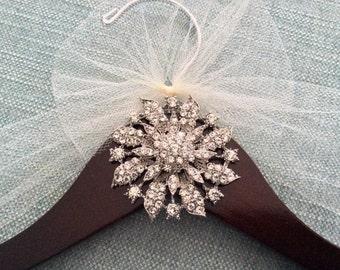 Spectacular Silver Jeweled Bridal Hanger, Personalized Wedding Dress Hanger,  Bridal Shower,