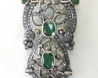 Victorian Diamond Emerald 14 K Gold Silver Pendant India