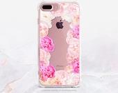 iPhone 7 Peonies Clear Rubber Case iPhone 7 Plus Clear Case iPhone 6 Clear Case iPhone 6S Case iPhone SE Case Samsung S7 Edge Case U174