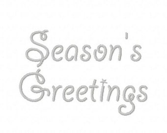 Season's Greetings Christmas script machine embroidery design 4 inch instant download