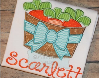 Carrot Basket Bow Machine Embroidery Applique Design