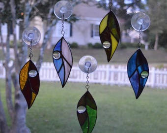 Leaves with Raindrop Art Glass Suncatchers