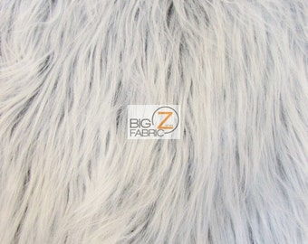 Solid Gorilla Monkey Shaggy Faux Fur Fabric - GREY FROST - By The Yard Coats Scarf Rugs Costumes Accessories Clothing