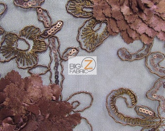 Cherry Blossom 3D Dress Lace Fabric - BROWN - Sold By The Yard Prom Evening Dress Lace Decor Accessories Flowers