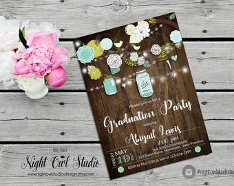Rustic Graduation Invitation, Grad Invite, Class of 2017, Grad Party Invite, Rustic Wood, Mason Jars, Turquoise Flowers, Lime Green Flowers