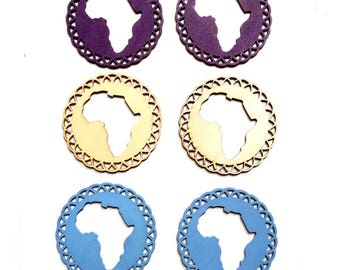 2 Wooden Africa Pendant/Charms - 3-43