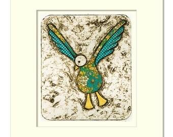 Seagull Mini Collagraph Print