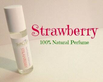 Strawberry Perfume - Natural Roll On Perfume Oil -  Organic Fragrance Perfume  - Vegan Perfume - Strawberry Fragrance .3 oz Glass Roll On