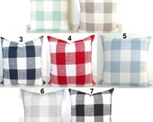 BUFFALO CHECK PILLOW Covers Blue Buffalo Check Throw Pillows Tan Pillows Red Plaid Pillow Covers 16 18x18 20 Gray Pillows Black Pillow