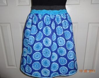 Handmade elasticated waist skirt skater vintage blue circles 14 L Rockabilly summer