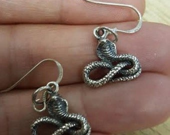 Vintage New Old Stock 3D Sitting Cobra Snake Serpent Asp 925 Sterling Silver Pierced Earrings