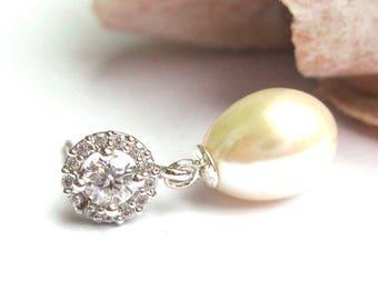 Freshwater pearl bridal earrings, dainty Drop Pearl Earrings, Ivory Pearl Earrings, Vintage style wedding Earrings, Bridal Jewelry