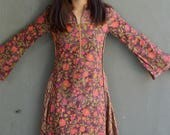 Biba dress Indian vintage floral hippie bohemian gypsy wood block printed dress maxi with flared sleeves 1970's style cotton 1990's era