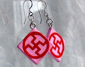 Pink Red Swastika Diamond Hanji Paper Earrings Dangle Buddhist Design Hypoallergenic hooks Lightweight Earrings Red Pink paper earrings