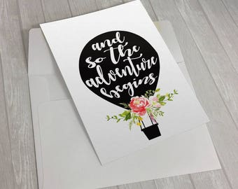 50% OFF LIMITED SALE! Graduation card, Congratulations card, Engagement card, Wedding card, Going away card, And so the adventure begins