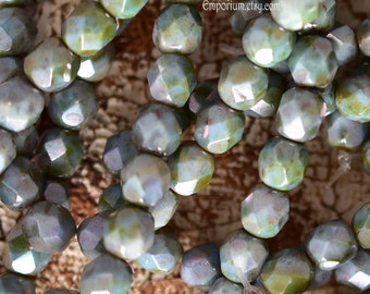 6mm Green Picasso Faceted Round Fire Polished Beads - 6mm - Czech Glass Beads - 30 beads - 3692