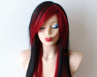 Emo wig. Scene wig. Black /Wine red scene hairstyle wig. . Emo hair long straight black hair wig for daytime use or cosplay