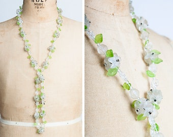 1930s Frosted Glass Floral Springtime Necklace with Petite Green Pressed Glass Leaves