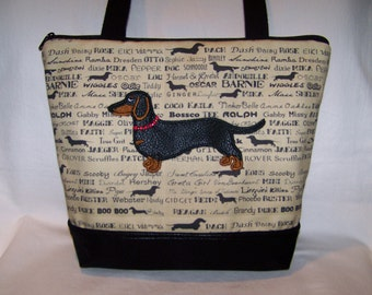 Smooth Hair Black and Tan Dachshund Wearing a Beaded Collar - Wiener Dog - Handbag-Purse-Made to Order