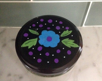 Recycled Glass Jar - Hand Painted Floral Folk Art Lid
