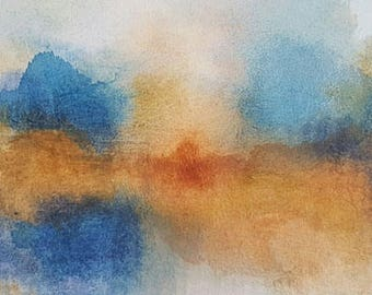 Landscape Art Painting - Wall Hangings Original Abstract Modern Contemporary Stretched Canvas Textured Blues Orange Warm Mixed Media