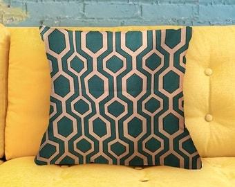 "Modern Lattice - Teal Pillow Cover - 18"""