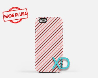 Red Pinstripe Phone Case, Red Pinstripe iPhone Case, Lined iPhone 7 Case, Pink, Lined iPhone 8 Case, Red Pinstripe Tough Case, Clear Case