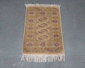 1970s Vintage, Hand-Knotted, Retro Bokara Rug (2810)