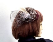 Leopard Fascinator, Kentucky Derby Hat, Animal Print Hat, Brown Fascinator