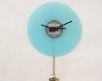 Upcycled Vinyl Record Disc Clock, Record, Wall Clock with Pendulum, Handmade, Aqua, Geekery, Clocks by DanO