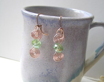 Apple green, mint green spiral earrings, glass bead, rose gold wire wrap, OOAK, handmade, gift under 20, gift for her, GBT242