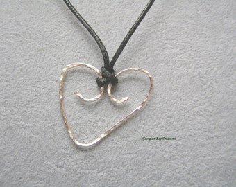 Heart pendant, rose gold, original handmade, wire wrapped, gift under 20, GBT245