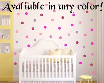 "40 Colors! 50 Peel and Stick 2"" Polka Dot Wall Decals For Kids Rooms, Nursery Decor, Bedrooms, Wall Sticker Decor"