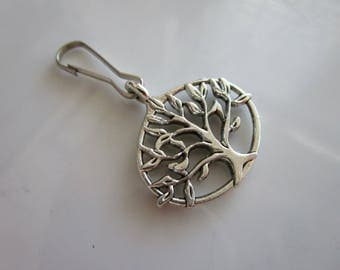 Silver tone carved tree of life charm for zipper pull jackets purses - tree zipper pull - tree charm zipper pull - tree of life zipper pull