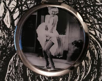 Vintage Marilyn Monroe in The Seven Year Itch Silver Compact Mirror