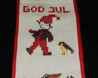 Swedish hand embroidered wall hanging for Christmas / santas / God Jul