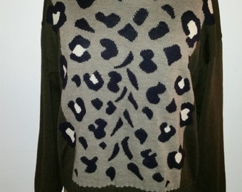 Vintage Sweater 1980's ESCADA Animal Print Turtleneck Sweater 80's Designer 100% Wool Boxy Cropped Slouchy Urban Hipster Size M Germany