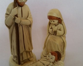 Vintage Nativity Set of 3 Infant Jesus in Manger Blessed Mother and St. Joseph Molded Ceramic Made in Korea 1980s