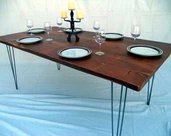 Farmhouse Table made with Reclaimed Wood and Hair Pin Legs ( local pickup or delivery only please )