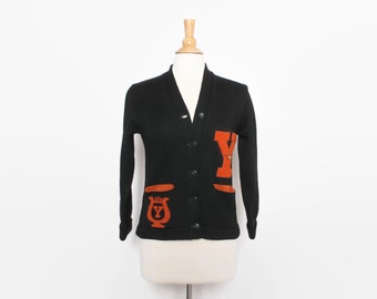Vintage 40s VARSITY SWEATER / 190s Black Wool Letterman Cardigan Patches Womens S M